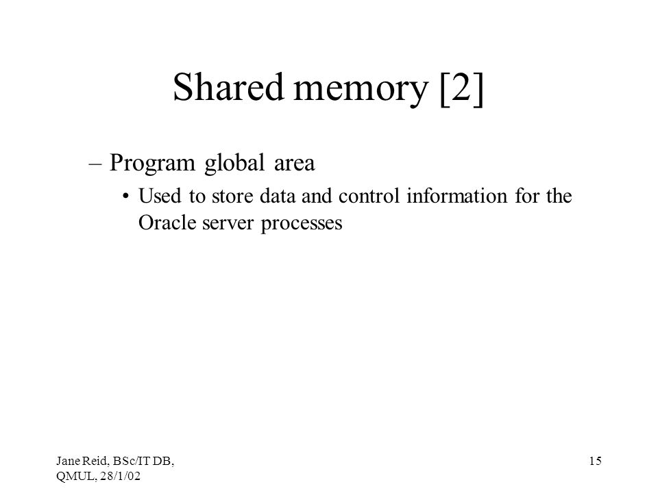 Shared memory [2] Program global area